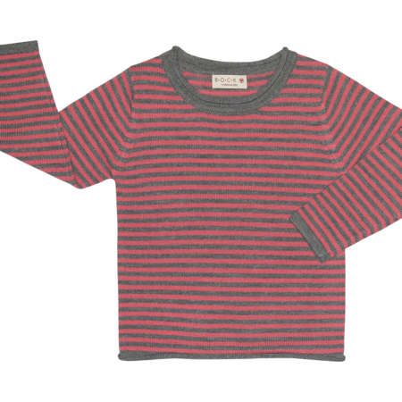 langærmet stribet uld sweater