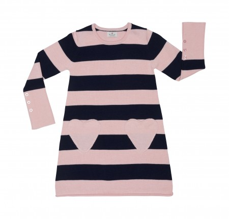 striped dress with heart pockets - organic cotton
